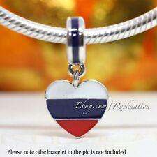 Authentic PANDORA S925 ALE Charm Pendant Russia Heart Flag 791549ENMX