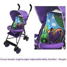 Evezo Animal Print Purple Lightweight Adjustable Stroller Canopy Seat Padding