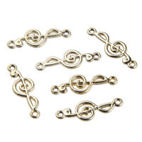 10PC Gold Color Music Note Connector Charm Beads 30*10mm Fit DIY Jewelry Craft