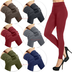 WOMENS LADIES WINTER WARM THICK FLEECE LINING THERMAL STRECHY COSY LEGGINGS 8-18