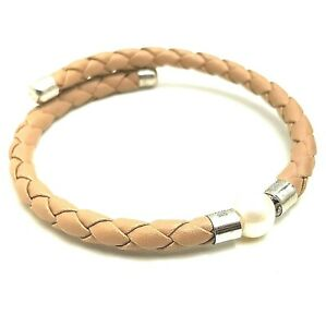 Sterling Silver TGGC Braided Leather & Freshwater Pearl Bracelet Bangle - Beige