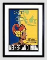 TRAVEL NETHERLAND INDIA FAR EAST SUMATRA BORNEO DUTCH FRAMED ART PRINT B12X6482
