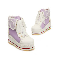 Womens High Top Platform Pumps Creeper Cosplay Lolita Canvas Shoes Sneaker Size