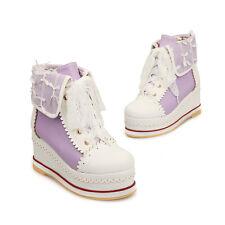 High Top Platform Pump Creeper Cosp Lolita Canvas Shoes Sneaker Size 2-14 Womens