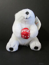 "Coca Cola White Polar Bear Plush 7"" Stuffed Animal 1998 Play by Play Vinyl Beach"