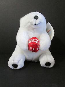 "Coca Cola White Polar Bear Plush 7"" Stuffed Animal 1998 Play by Play Vinyl Beach"