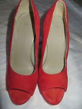 Red Italian Sisley Suede Women Open Toe Shoe, Size 7