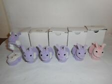 LOT OF 6 ENAMEL BUNNY NECKLACE IN VELOUR BUNNY GIFT BOX *IMPERFECT*