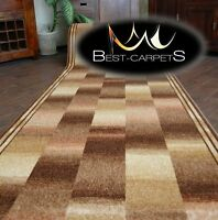THICK Runner Rugs IKAT beige modern NON-slip Stairs Width 67-100cm extra long