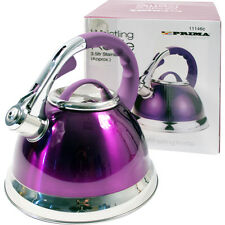 PURPLE 3.5L STAINLESS STEEL LIGHTWEIGHT WHISTLING KETTLE CAMPING FISHING KITCHEN