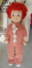 """Vintage 1960s Vinyl Plastic Red Head Girl Character Doll 11"""" Tall"""