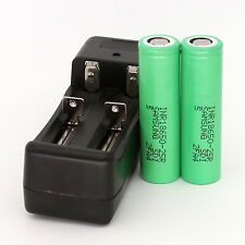 2PCS Samsung INR18650-25R HIGH DRAIN Rechargeable battery 2500mAh + Charger