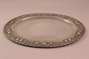AUGSBURG 1732-1734 Silber Tablett Tremulierstrich Meisterpunze Pinie silver rare
