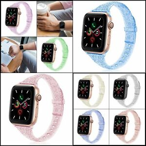 Glitter Slim Silicone Band for Apple Watch,Sparkly Bling Wristband for iWatch ..