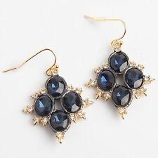 Alexis Bittar Gold Blue Circular Crystal Dangle Drop Earrings New