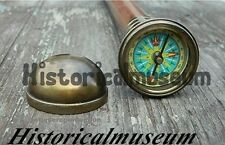 Antiqued Brass Compass walking stick-Wood Cane -Vintage Sale MK05