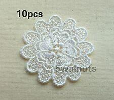 10pcs Guipure Venise Embroidered Lace FLOWERS Applique Motif Trimming - White