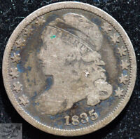 1835 Capped Bust Dime, Very Good Condition, Silver, 186 Years Old, C5165