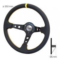 Simoni Racing Volante Universale SPEC a Calice in Ecopelle Nera e Gialla