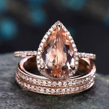 2.5ct Pear-Cut Morganite & Dia 14K Rose Gold Over Wedding Bridal Halo Ring Set