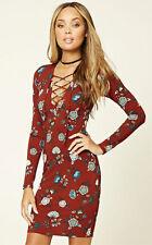 Forever 21 Rust Aqua DRESS size M Lace up V-neckline floral pattern
