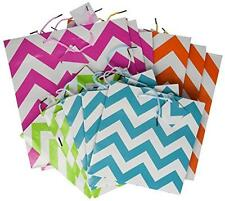 Gift Bag Assortment - 12 Assorted Size Bright Gift Bags (chevron), New, Free Shi