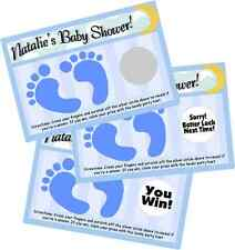 BABY BOY BLUE FOOTPRINTS SCRATCH OFF OFFS PARTY GAME GAMES CARDS SHOWER FAVORS