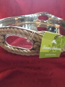NEW Near FLAWLESS Exquisite TOMMY BAHAMA Silver ROPE WRAPPED HANDLE SERVING TRAY
