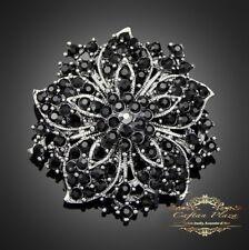 PRECIOSO XL GRAN BROCHE novia Estrás Cristal Vintage Plata Negro