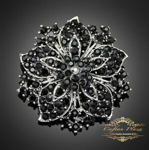 Wunderschöne XL große Brosche Braut Strass Kristall im Vintage Silber Schwarz
