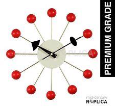 GEORGE NELSON REPLICA MODERN RETRO BALL CLOCK -RED - RRP $99 **PREMIUM**
