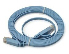Cat6a RJ45 UTP Flat Snagless Network Cable (Light Blue) 10m