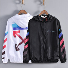 OFF WHITE OW Creative printing men's women hooded Sun protection Windbreaker New
