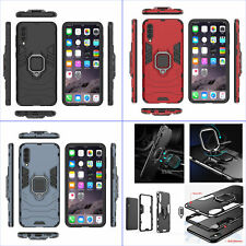 For Samsung Galaxy A50 A50s, 3in1 Shockproof Rugged Ring Car Holder Case + glass