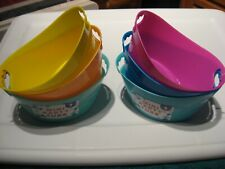 """6 Mini Party Picnic Tubs 6.25"""" x 4.25"""" / Assorted Colors As Pictured Group # One"""