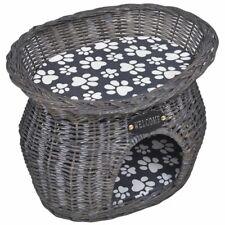 vidaXL Casita/Cama/Rascador de material Mimbre para Gato/mascotas con Cojín gris