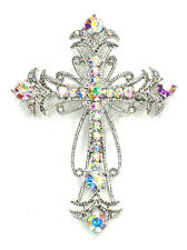 Cross Crucifix Pin Brooch Big Gorgeous AB  Crystal Religious Catholic