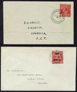 Norfolk Is. 2 Covers with Pre-1947 Australian Satmps. 1937 KGV 2d SG127 & SG119