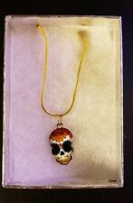 """Gold Plated Sugar Skull Flower Eyes Necklace - 24"""" Snake Chain - Lobster Clasp"""