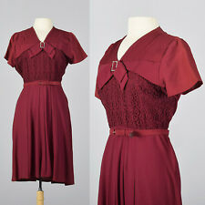L 1950s Burgundy Dress Lace Overlay V-Neck Thanksgiving Outfit Day Dress 50s VTG