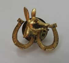 VINTAGE HORSE HEAD AND HORSE SHOES GOLD TONE LAPEL PIN                (INV15324)