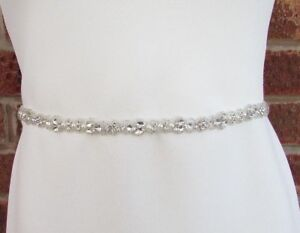 Silver Ivory Pearl Thin Bridal Wedding Dress Belt Diamante Rhinestone Deco 5996