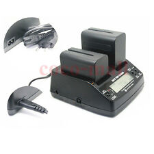 Dual Battery Charger For Sony NP-F750 NP-F970 YN-300 NP-F550 NP-F330  Led Video