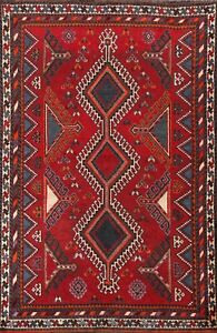 Antique Abadeh Geometric Tribal Hand-knotted Area Rug Wool Oriental 5'x8' Carpet