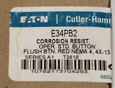 EATON CUTLER HAMMER E34PB2 Corrosion Resistant Red Flush Push Button