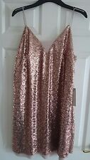 BNWT Next gold blush pink sequin sparkle cocktail dress size 18 RRP £50!