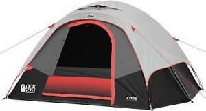 """CORE 6 Person Tent with Block Out Technology 11 x 9 x 66"""" Black/Red New ✅"""