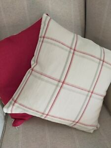 2 Laura Ashley Corby Check/Bacall Cranberry Fabric Cushion Covers 16""