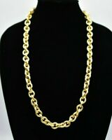 Heavy Vintage Necklace Metallic Yellow Gold Tone Linked Thick Chain Chunky BinA