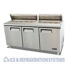 "Migali Commercial 72"" Salad & Sandwich Prep Table Refrigerator Cooler C-SP72-18"